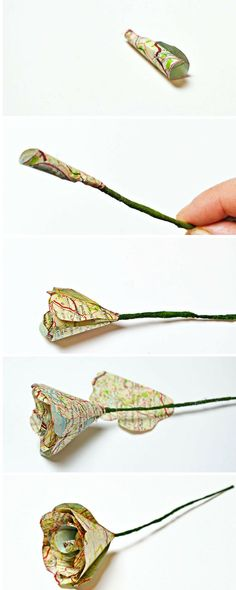 Simple to make map roses from upcycled old atlases and maps.  The flowers look goregous in a bunch and would make a lovely homemade gift.