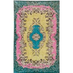 Apadana Fine Rugs Revival Hand Knotted Green/Pink/Yellow Area Rug
