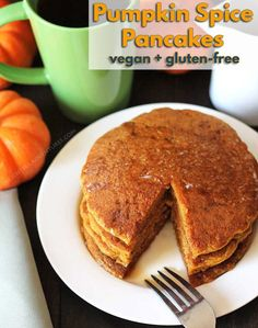 Treat your family to a batch of easytomake fluffy vegan gluten free pumpkin pancakes Theyre packed with pumpkin spice flavour everyone will love via delighfuladv Gluten Free Pumpkin Pancakes, Pumpkin Spice Pancakes, Pumpkin Spice Syrup, Vegan Pancakes, Dairy Free Recipes, Vegan Gluten Free, Vegan Recipes, Spinach Recipes, Vegan Foods