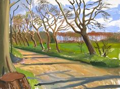 David Hockney, The East Yorkshire Landscape, Walnut Trees, 2006 I believe this is his ipad art David Hockney Landscapes, David Hockney Artist, David Hockney Paintings, Landscape Art, Landscape Paintings, Pop Art, Watercolour Drawings, Chiaroscuro, Art Uk
