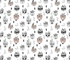 Cool scandinavian geometric woodland animals indian summer zoo black and white fabric surface design by Little Smilemakers on Spoonflower - custom fabric and wallpaper inspiration Indian Animals, Deer Fabric, Black And White Fabric, Animal Quilts, Indian Summer, Woodland Animals, Woodland Theme, Baby Boy Nurseries, Cool Baby Stuff