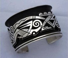 Silver bracelet by Michael Kabotie, early 1990s