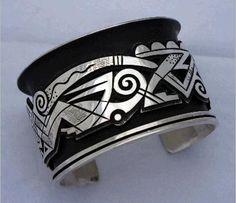 Silver bracelet by Michael Kabotie, early 1990s