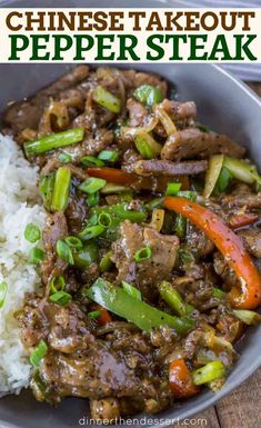Chinese Takeout Black Pepper Steak with Peppers