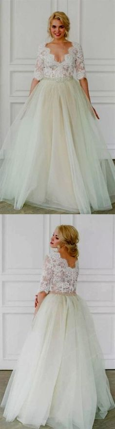 V Neck Half Sleeve Lace Wedding Dresses A Line Tulle Bridal Dresses Pink Wedding Dresses, Bridal Dresses, Lace Wedding, Inexpensive Wedding Dresses, Affordable Bridesmaid Dresses, Prom Dresses Online, Cheap Prom Dresses, Perfect Wedding Dress, Ball Gowns