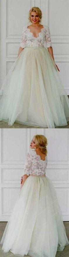 V Neck Half Sleeve Lace Wedding Dresses A Line Tulle Bridal Dresses Inexpensive Wedding Dresses, Affordable Bridesmaid Dresses, Pink Wedding Dresses, Bridal Dresses, Lace Wedding, Flower Girl Dresses, Prom Dresses Online, Cheap Prom Dresses, Perfect Wedding Dress