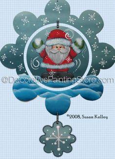 Santa Ornament ePacket - Susan Kelley - PDF DOWNLOAD #paintingpattern #paintingepattern #santasnowflakeornament