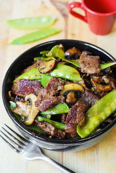 Asian Beef with Mushrooms and Snow Peas Recipe This is an amazing stir fry for your Asian cuisine. Asian Beef with Mushrooms and Snow Peas Recipe is exactly what it sounds like. A strong flavor melody of steak, mushrooms and snow peas all seasoned in classic Asian spices. It doesn't take long to make and … Continue reading »