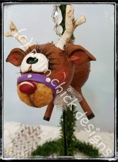 REINDEER ORNAMENT original hand painted purple sculpted Christmas prim chick designs lisa robinson ofg teamhaha by primchick on Etsy
