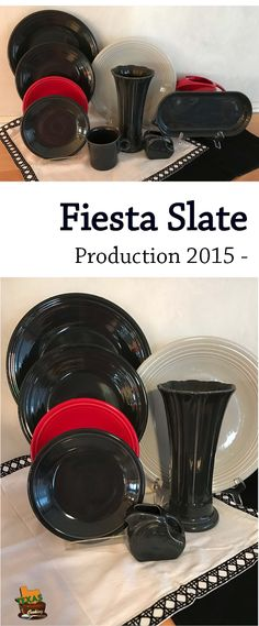 Talking about Slate Fiestaware dishes and items, the popular Fiesta dinnerware color since includes produced pieces, production dates, auctions. Clean Slate, Homer Laughlin, Shades Of Black, Dinnerware, China, Cleaning, Party, Dinner Ware, Tableware