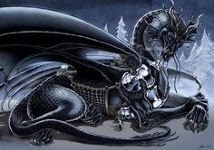 Temeraire and Laurence (fan art by Daniel Govar, danielgovar.com). #dragon