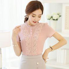 Chiffon Shirt Women Tops 2017 New Summer Women Blouse Short Sleeve Stand  Collar Shirt Plus Size Women Fashion Lace Shirt 09b488379f6b