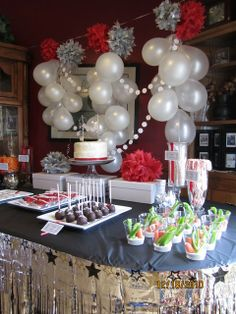 Birthday party table display.
