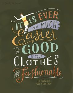 """Design Mom Collection: Anne of Green Gables Print, Inspirational Quote, Hand-Lettered 8""""x10"""". $22.00, via Etsy."""