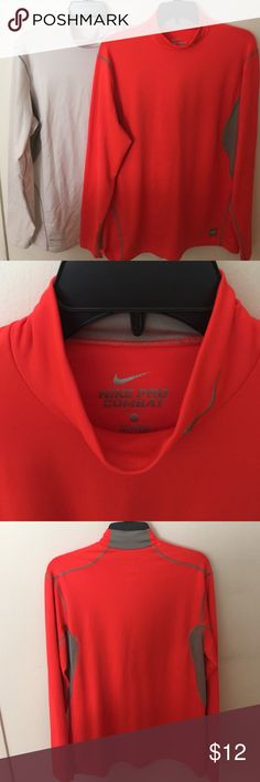 Nike Pro Combat Dri-Fit Longsleeve (Mens) Nike Pro Combat Dri-Fit Fitted Longsleeve Shirts. Raised collar, breathable underarms make these perfect for cold weather workouts. Comfortable with a tank or tight fitting shirt underneath, or under another shirt/jersey/etc. The orange one is barely worn and in great condition. The white one is more worn but still in good shape without any snags/stains, etc. Nike Shirts Tees - Long Sleeve