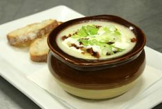 Chef Saul Flores of The Cutting Room in New York City serves up this loaded potato soup to his patrons, filling it with potatoes, bacon, jalapeños and more.