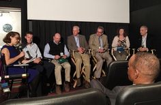 "C'est moi on left moderating the ""Right Side of the Track"" panel at Equus Film Festival NYC 2015 in November at the Village East Cinema"