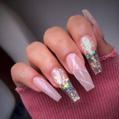 35 Beautiful Pink Nail Designs - Coffin And Casket Nails - Nail Design Rosa, Rose Nail Design, Pink Nail Designs, Acrylic Nail Designs, Nails Design, Summer Acrylic Nails, Best Acrylic Nails, Summer Nails, Winter Nails