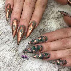 60 Creative And Stylish Acrylic Long Stiletto Nails Designs Long Stiletto Nails;Creative and Stylish Stiletto Nails Designs. Camo Nail Designs, Nail Art Designs, Acrylic Nail Designs, Acrylic Nails, Camouflage Nails, Camo Nails, Long Stiletto Nails, Long Nails, Gel Nagel Design