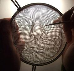 cool wire sculpture Idea, with a sieve.                                                                                                                                                                                 More