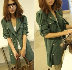 Female Long Slim Lapel Double-Breasted Trench Coat' on Wish, check it out!