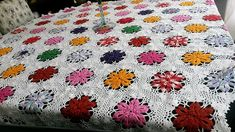 Here is the idea for a big table and this idea of crochet table runner can be copied if the person wants to cover the whole table. You can see some of the crocheted flowers are of single shade while some of them are crocheted using different shades.