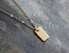 Tiny Tag  Minimalist Tag Necklace Gold Necklace Dog by SketchLines