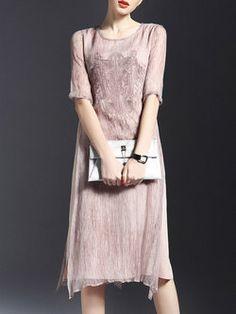 27d8736aea Apricot Silk Embroidered Half Sleeve H-line Midi Dress Stylish Dresses