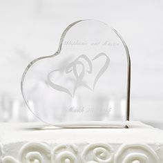 Two Hearts Acrylic Cake Top