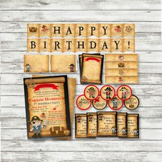 Pirate Birthday PARTY PACK - Boy Pirate Party - Printable - Personalized Pirate Party Supplies - Pirate Thank You Note ~ Banner - by PicklesAndPosies on Etsy
