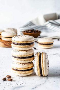 Vegan Coffee Macarons with Coffee Ganache Filling #vegan #coffee #macaron #macarons #frenchmacaron #ganache #mocha #coffeedesserts #chocolate #frenchmethod #macaronideas #cookies #glutenfree #glutenfreerecipes