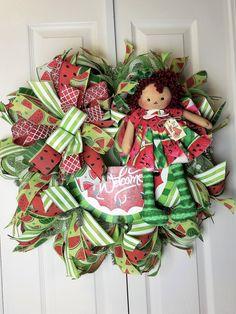 Summer Watermelon Wreath, Everyday Wreath, Front door Decor by WreathsbyCrazyLady on Etsy
