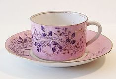 Tea Cup and Saucer / Fine Russian Porcelain by M. Cup And Saucer Set, Tea Cup Saucer, Coffee Cups, Tea Cups, Pink Cups, Antique Dishes, China Patterns, Funny Vintage, Vintage Stuff