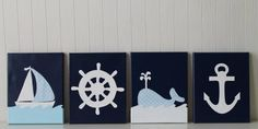 Nautical Nursery Sailboat Nursery Whale Nursery Navy Baby Blue Nursery Painting Ship's Wheel Anchor