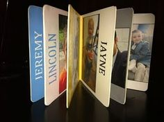 Bare book covered in family photos and contact paper.   LINK to CHEAP bare books at this site.