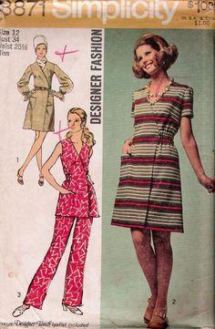 """Dress Pants VINTAGE SEWING PATTERN 70s SIMPLICITY SIZE 12 BUST 34 HIP 36"""" UNCUT"""