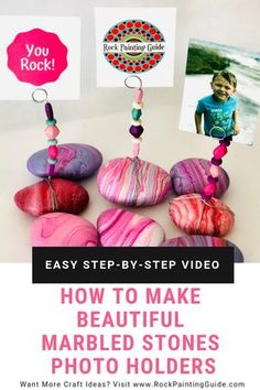 Flex your creative muscles and try these beautiful marbled stone photo holders. Easy step-by-step video tutorial! Flex your creative muscles and try these beautiful marbled stone photo holders. Easy step-by-step video tutorial! Diy Gifts For Mom, Mothers Day Crafts For Kids, Fathers Day Crafts, Crafts For Teens, Homemade Gifts, Grandparents Day Crafts, Rock Crafts, Fun Crafts, Arts And Crafts