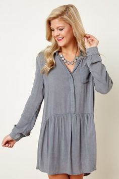 Fringe Relaxed Life Dusty Grey Tunic Dress at reddressboutique.com