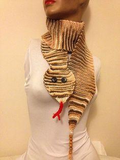Snake Scarf  Scarf Hand Knit  Handknitted beige brown by NesrinArt, $30.00