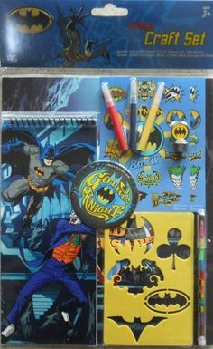 "Batman - Gothic Knight _ Craft Set 11 Piece - Activity Set by Accessory Zone. $17.95. Color-in-Door Hanger, 9"" x 12"" drawing pad, 3 mini markers, stamper. Batman themed Craft Set. Colored Push Crayon, 2 Sticker Sheets and Large Foil Sticker. Arts & Crafts for Fun. Ideal for the creative, artsy, Batman fan.. Save 28% Off!"