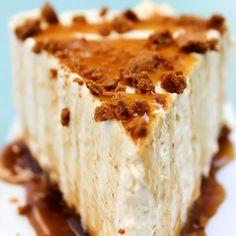 No-Bake Pumpkin Caramel Cheesecake Recipe Desserts with cream cheese, solid pack pumpkin, sugar, cinnamon, nutmeg, clove, whipped topping, cookie crumbs, brown sugar, Challenge Butter, caramel sauce