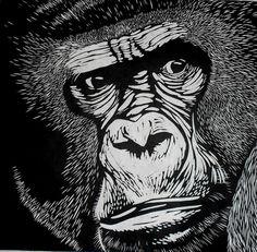 Gorilla Linocut on Japanese Kozuke paper (44gsm white) by Rowanne Anderson http://www.rowanneanderson.com/ Tags: Linocut, Cut, Print, Linoleum, Lino, Carving, Block, Woodcut, Helen Elstone, Animals, Gorilla, Ape