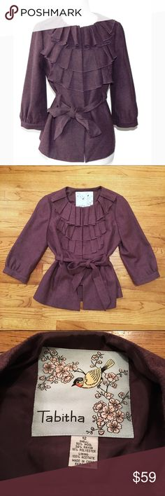 Anthropologie Tabitha Plum Ruffle Tie Jacket 50% Wool, 36% rayon, 16% polyester. Like new condition!  Ruffle front, snap button and tie closure. 3/4 sleeve. Anthropologie Jackets & Coats