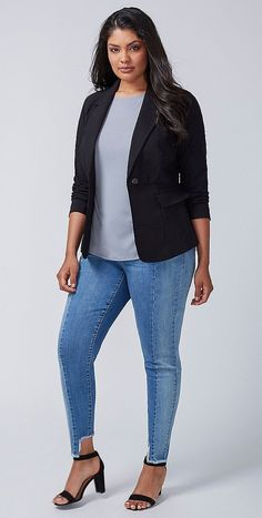 Plus Size Peplum-Back Blazer
