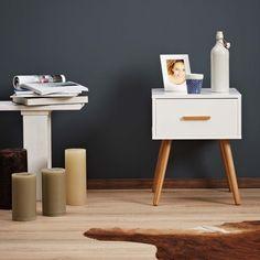 LOMOS® No.4 table de chevet en bois blanc avec un panneau coulissant: Amazon.fr: Cuisine & Maison