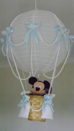 Hot Air Balloon Lamp/light shade. With Disney Mickie Mouse. / Blue Boy