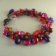 Handmade Gemstone Bracelet With Oxidized Silver by SurfAndSand
