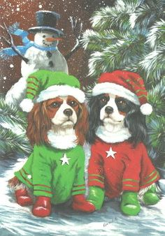 Christmas Drawing, Christmas Snowman, Christmas Cards, King Charles Spaniel, Cavalier King Charles, Wooden Flag Pole, Animal Room, Spaniel Puppies, Holiday Pictures