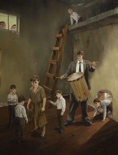 Jarmo Mäkilä - Poika nimeltä Päivi (Boy called Daisy) [oil on canvas, Musical, 21st Century, Surrealism, Oil On Canvas, Modern Art, Perspective, Paintings, Artists, Image