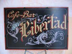 Cartel de 3 metros en madera con pintura al oleo del puente de la Boca.       Cartel de 2.40 cm x 1.20 cm en madera para el bar El ...